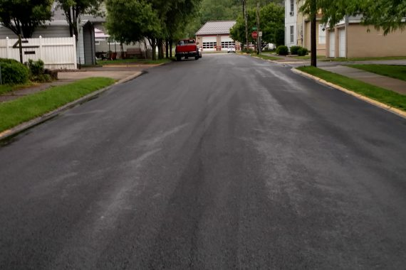Freshly Paved Asphalt Roads in Township, Pennsylvania.