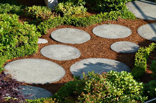 Round stepping stones thru a mulch covered path